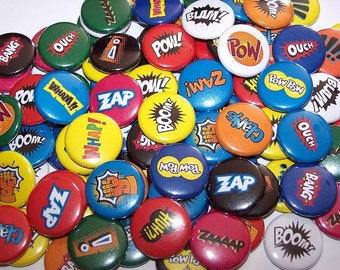 """Comic Book Sound Effects Words Set of 10 Buttons 1"""" or 1.5"""" or 2.25"""" Pinback Buttons or 1"""" Magnets Superhero Super Hero"""