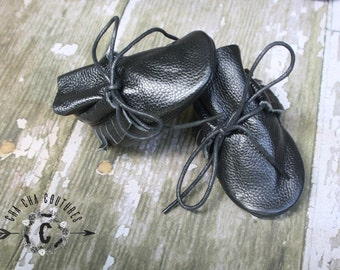 WOW! NEW Black Tie Ups  100% genuine leather baby moccasins Mocs moccs top quality, first birthday,