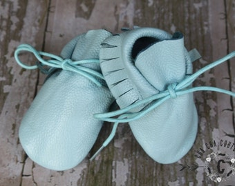 WOW! NEW Sky Blue Tie Ups  100% genuine leather baby moccasins Mocs moccs top quality, first birthday,