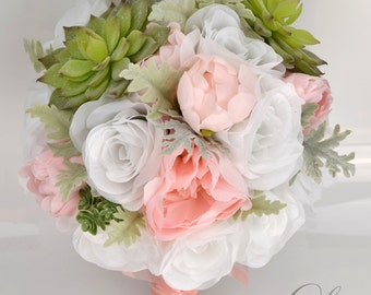 """Wedding Bridal Bouquet 17 Piece Package Silk Flowers Artificial Decoration Succulent Dusty Miller GREEN PETAL BLUSH """"Lily of Angeles GRPI05"""