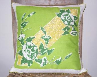 Handmade Pillow Cover, Mother's Day Gift, Easter Gift, Hostess Gift, Hanky Pillow, Avant Guard, Mid-Century. Child's Bedroom