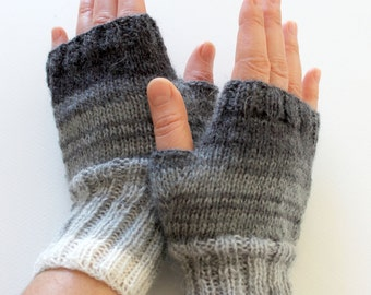 Dark Gray Arm Warmer Knitting Fingerless Gloves / Batik colors./ Black and Grey. / Arm Mittens. / Valentines days. Spring fashion No:2
