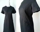 Vintage Dress, Black Vintage Dress, 1970s Dress, Black 70s Dress, Vintage 70s Dress, Polyester Dress, Black Poly Dress, Retro 70s Dress