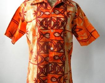 Hawaiian Shirt, Vintage Hawaiian Shirt, Orange Shirt, Men's Vintage Shirt, Orange Vintage Shirt, Orange Tiki Shirt, Vintage Tiki Shirt, 1970