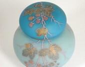 Vintage 3pc Japanese Cherry Blossom Flowering Tree Blue Ginger Jar w Lid & Cover