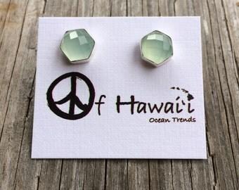 Sea Foam Chalcedony Stud Earrings Hand Bezel Set in 14Kt Gold Vermeil & Sterling Silver by Peace of Hawaii Ocean Trends Co.
