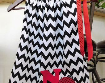 Girl, baby, toddler, black, white chevron fabric pillowcase dress personalized with red birthday number ladybug applique, NB - 12