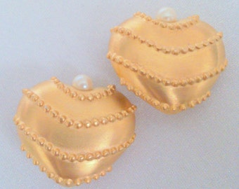 Gold Tone Faux Pearl Heart Shaped Clip Earrings