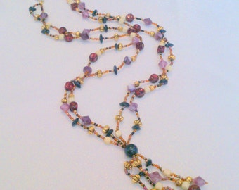 Vintage Purple Beaded Multi Strand Tassel Necklace