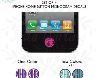 Set of 4 - iPhone Home Button Monogram Vinyl Decal Solid or Glitter