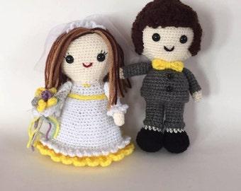 Bride and Groom Amigurumi, Wedding Amigurumi, made to order, Wedding Dolls, Shower Gift, Custom Crochet