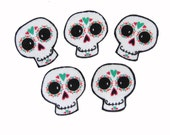 Punk Baby - Skull and Crossbones - Day of the Dead - Sugar Skulls - Halloween - DIY  Iron On Fabric Cotton Appliques Set of 5 No Sew Patches