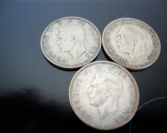 Coin Great Britain, (3) One Shilling Silver Coins, Lot of 3 Coins, 1934, 1938, 1943, World Coins