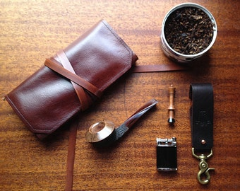 Sorringowl & Sons * Tobacco Pipe Pouch * Leather Pipe Roll * Pipe Bag * The Original Standard * Brown w/ Antique Brass
