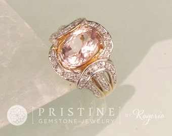 Morganite Dinner Ring in 14k Yellow Gold and Diamond Halo Gemstone Ring