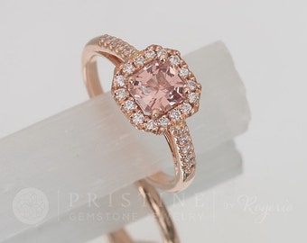 Rose Gold Engagement Ring with Peach Spinel Center Stone Sapphire Alternative Wedding Ring Gemstone Bridal Ring