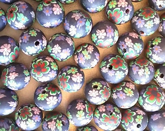 20 Fimo Polymer Clay Round Beads Green purple red flowers beads 12mm