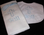 Christening Bib and Burp Gift Set.  Monogrammed Personalized  Custom Baptism