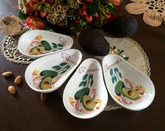 Service à avocats en porcelaine Revol - Vintage - Made in France - 4 pièces