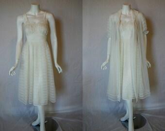 Vintage 1950s Shadowline Peignoir Set, 32, Small, White Double Nylon Nightgown Robe