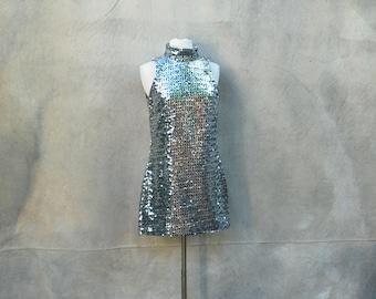 Vintage 60s mod Twiggy mini party dress - 1960s black and silver metallic sequin go-go cocktail dress _ M