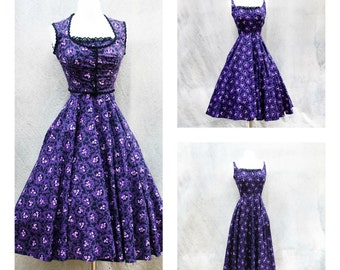 Vintage 1950s  sundress with bolero jacket - 50s black purple pink floral cotton summer full skirt party dress - small