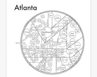 "Atlanta Map 17.5"" x 17.5"" Screenprint. Beautiful Minimalist Simple Graphic Neighborhood Art Print. Cool Travel Poster Design."