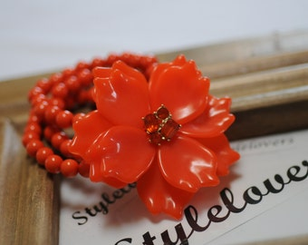 Flower Bracelet, Orange color Bracelet, stretch bracelet, Summer bracelet, Gift for her