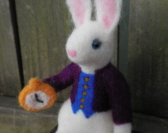 The White Rabbit / Needle Felted Alice in Wonderland Doll / Wool Felt Art Doll / White Rabbit Figurine / Fantasy Bunny