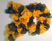 FREE SHIPPING - Team scarf, hand knitted ruffle scarf, green and gold scarf
