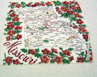 Vintage Missouri Handkerchief, Mint, Never Used, Souvenir