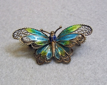 Wirework and Enamel Butterfly Pin, European Silver Wire Work, Gorgeous