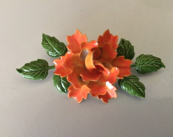 Beautiful Bright Orange and Green Enamel Flower Brooch