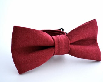 Mens Bowtie in Brick Red Linen, Maroon Bow Tie, Burgundy Bow Tie, Marsala Bow Tie, Groomsmen Bow Tie, Wedding Bowties, Adjustable Bow Tie