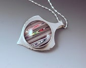 SALE- 10% off everything- Fordite- Vivid Brilliant Stripes- Michigan Made- Sterling Silver Fordite Pendant