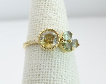 Cassiterite Green Sapphire Diamond Micro Pave 14K Gold Engagement Ring Stackable Wedding Band FG158