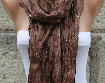 Brown Floral Scarf Valentine's Day Gift Shawl Cowl Scarf Gift Ideas For Her Women Fashion Acessories bridesmaid gift Bridal Accessories