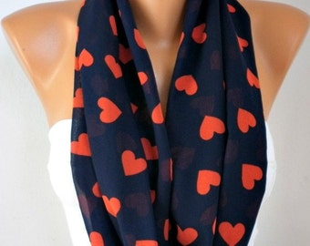 Heart Print Infinity Scarf, Fall Scarf, Circle Scarf, Loop  Scarf, Gift Ideas For Her - LOVE - Women Fashion Accessories, best selling item