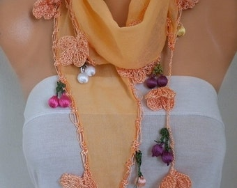 Orange Cotton Scarf, Spring Summer Scarf, Halloween Gift,Pumpkin, Cowl Scarf, Necklace, Gift Ideas For Her, Women' Fashion Accessories