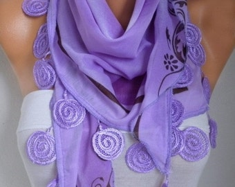 Lilac Cotton Scarf,Fall Scarf, Necklace, Cowl Scarf Gift Ideas for Her Women Fashion Accessories Christmas Gift