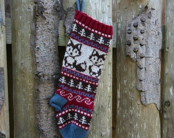Knitted Fox Christmas Stocking Holiday Xmas Christmas Stocking Fair Isle (Ready to Ship) LRR