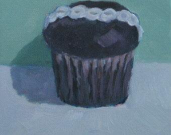 Chocolate Hostess Cupcake Original Oil Painting Kitchen Still Life Modern Impressionist Canvas Jennifer Boswell