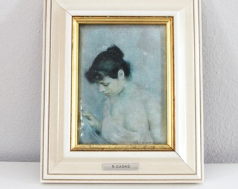 Framed Portrait Painting by Ramon Casas - Reproduction of the Painting Titled Study of a Young Woman 1893 in Convex Polysmalt Enamel