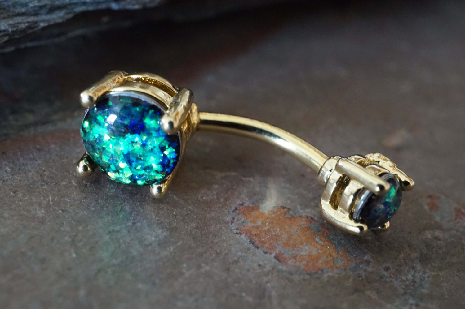 black opal 14kt gold belly button rings opal belly ring