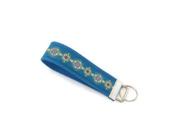 Peacock Blue Key Fob - Bling on Blue Keychain - Blue Key Ring for Her - Gift Under 10