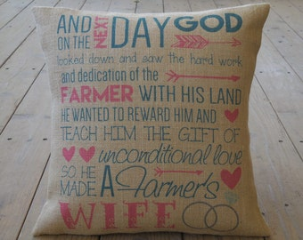 Farmer's Wife burlap Pillow | Farmhouse Pillows | French Country | INSERT INCLUDED