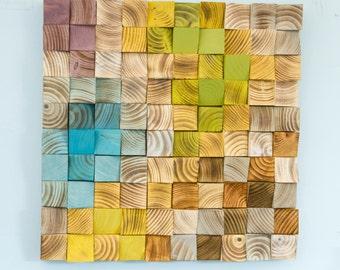 Wood Wall Art, mosaic wood art, geometric wall art