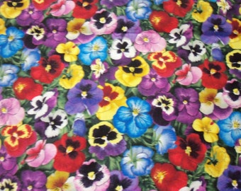 Pansy Fabric All Colors Bright & Cheery New By The Fat Quarter BTFQ