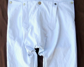 18th century  White  Fall Front Trouser.Breeches. Reenactment. Colonial. Civil war. Pioneer