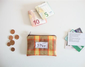 Coin Purse, Orange Plaid Zipper Pouch for Cards and Coin, Zipper Coin Purse, Mini Zipper Wallet, Eco Friendly, Made in Europe, by 3 Ptice